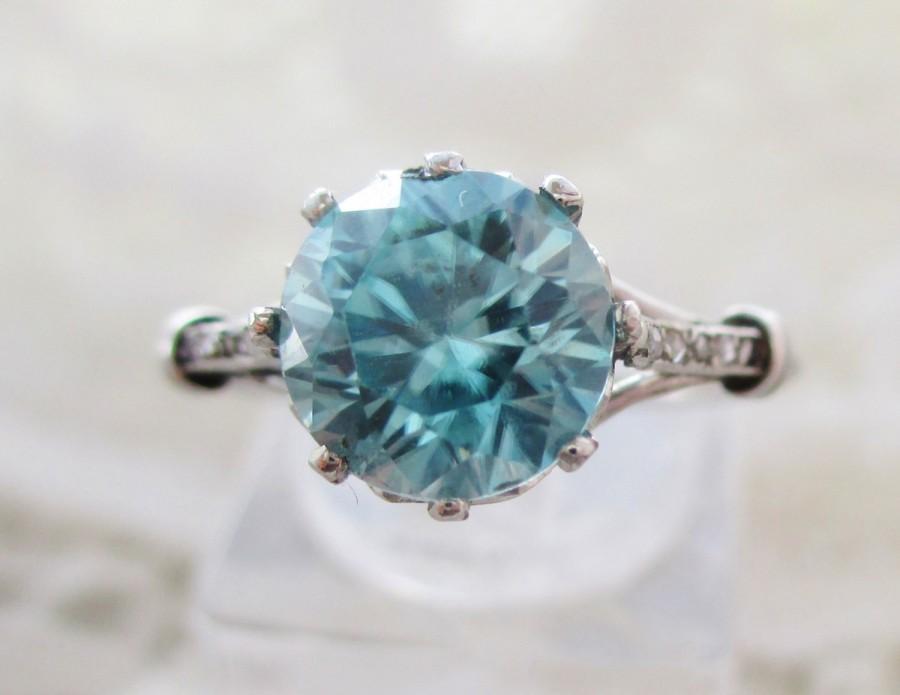 Mariage - SALE 2 WEEKS ONLY Gorgeous antique platinum Edwardian filigree blue zircon & diamond engagement ring