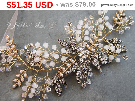 Mariage - 35% OFF - BLACK FRIDAY Gold Boho Headpiece, Antique Gold Opal Flower Hair Accessory, Hair Vine Hair Wreath Hair Vine, Wedding Headband - ...