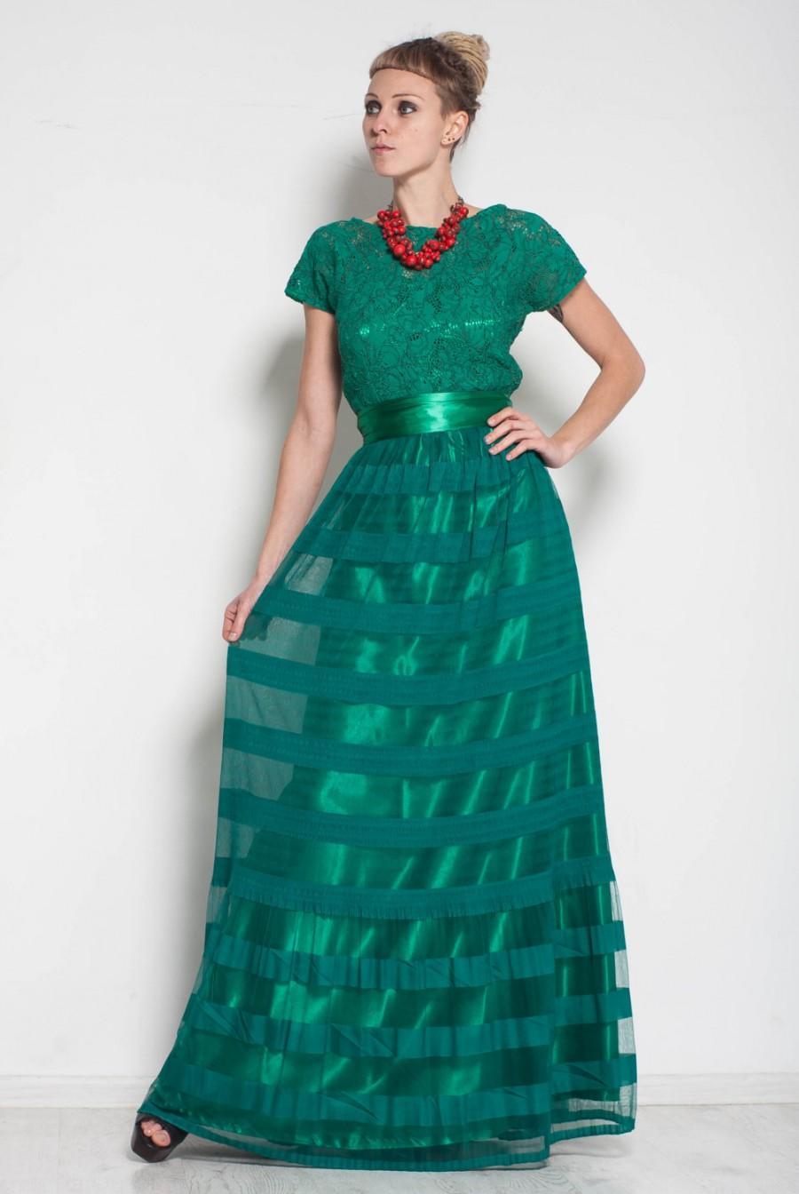 9b7edbb2bb5 Emerald Green Maxi Wedding Dress