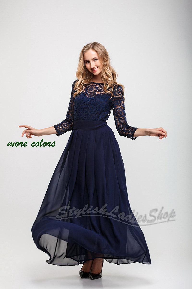 Navy Blue Long Bridesmaid Dress Lace With Sleeves Pleats Chiffon