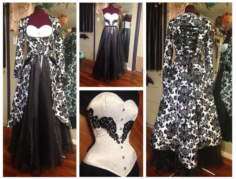"زفاف - 45% off! One of a kind wedding dress, damask black & white, four pieces, corset, two skirts, coat, hand made, 22"" corseted waist"
