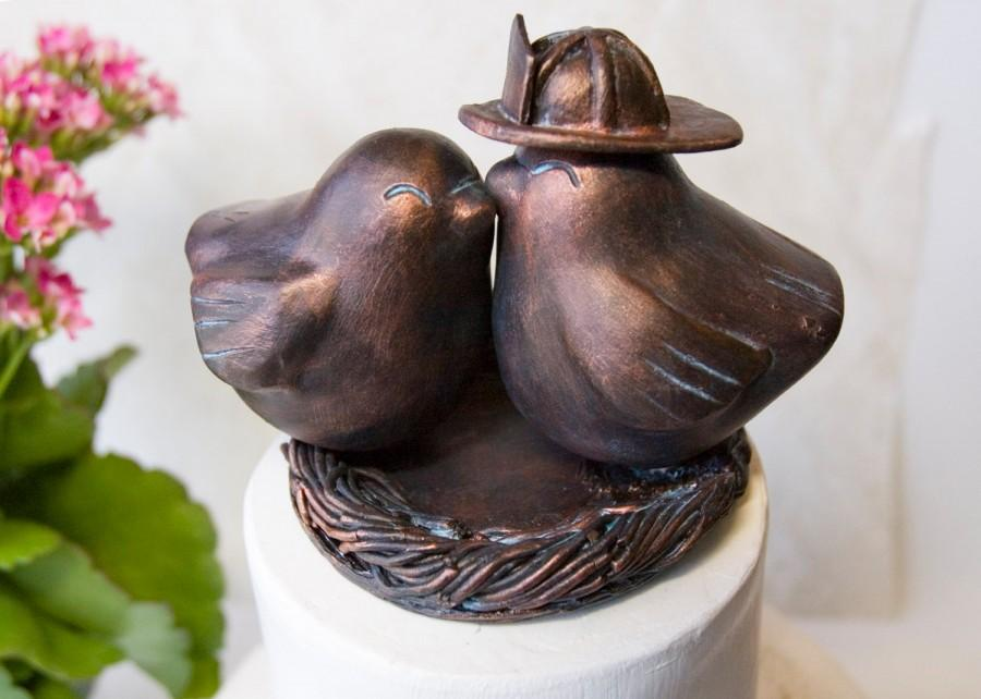 Hochzeit - Firefighter Love Bird Wedding Cake Topper