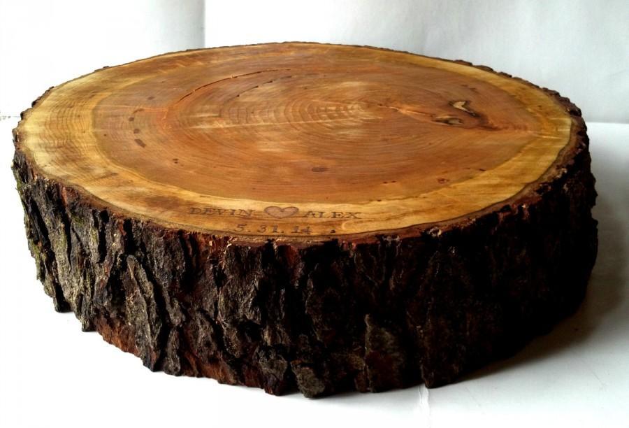 زفاف - Rustic Wood Cake Stand- Personalization- Tree Slice- Wood Slab