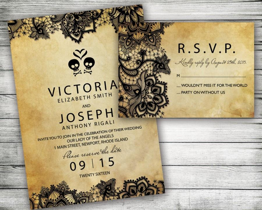 Rock And Roll Wedding Invitation Save The Date Music Vintage Retro Unique Black Lace Tattoo Invitations Diy Metal Punk