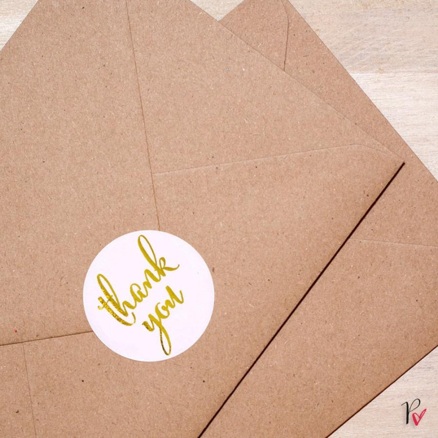 زفاف - Gold Foil Rounded Labels - Metallic Stickers - Thank You - Envelope Labels - Rounded Label Tags with Gold Foil by Paper Charms GT111