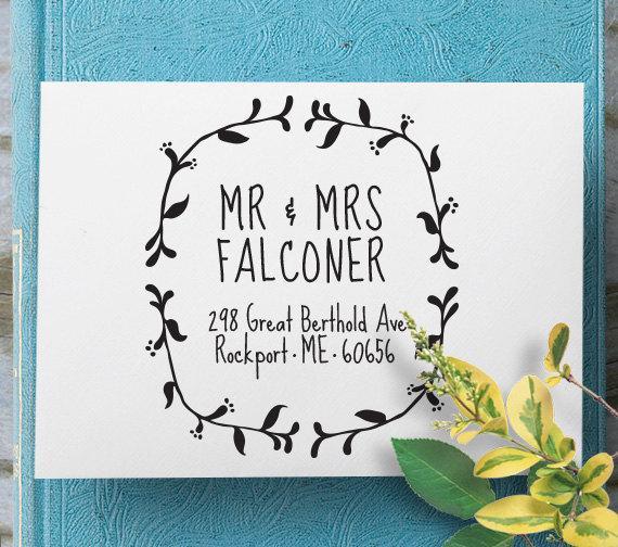 زفاف - Custom Address Stamp, Self Inking Stamp, Return Address Stamp, Custom Wedding Gift, Custom Rubber Stamp, Personalized Rubber Stamp - 1030