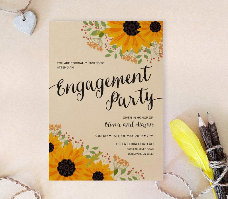 sunflower engagement invitations printed on kraft cardstock - Invitation Card Stock