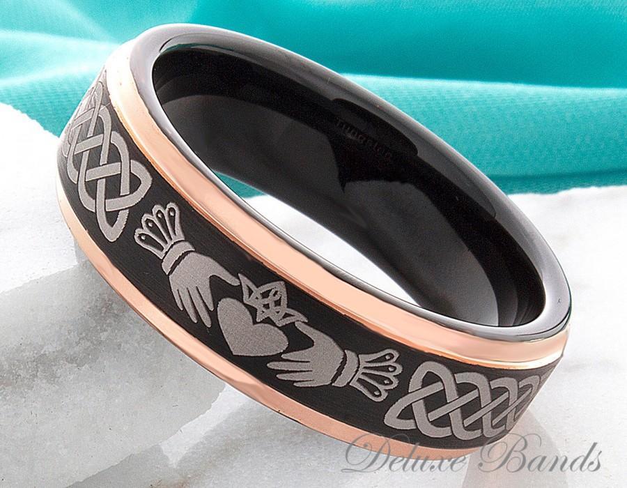 claddagh ring tungsten wedding ring 7mm black rose ring irish