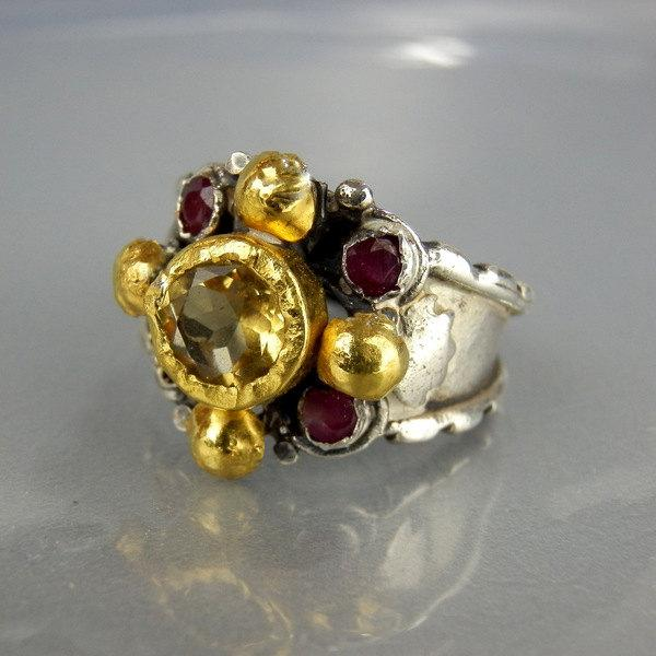 Mariage - November Birthstone Ring, Anniversary Ring, Elizabeth Ring, Engagement Ring, Ruby Citrine Ring, Birthstone Ring, Anniversary Gift, Women