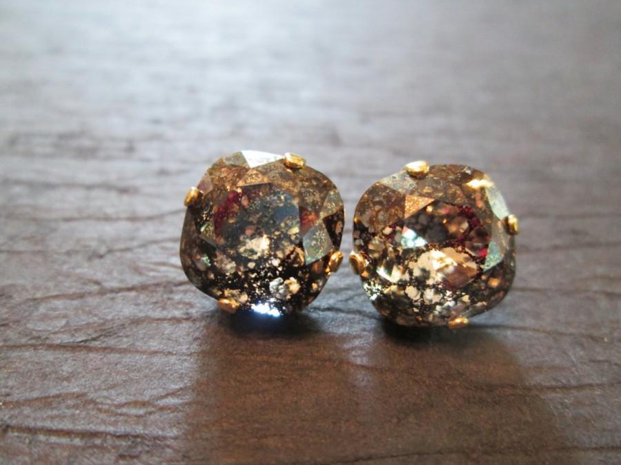Mariage - New Black Patina Swarovski Crystal Earrings/Swarovski Crystal Studs/ Swarovski Earrings/ Square Crystal Studs/ Cushion Set Earrings