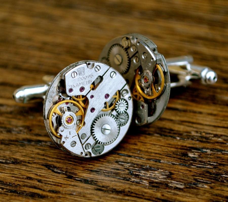 زفاف - Watch Movement 20mm Cufflinks Steampunk Vintage Wedding Groom Gift Mens Retro Present