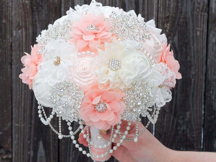 زفاف - SALE! FREE SHIPPING! Wedding bouquet, Unique Fabric bouquet, peach brooch bouquet, alternative bridal bouquet, lace bouquet. Crystals