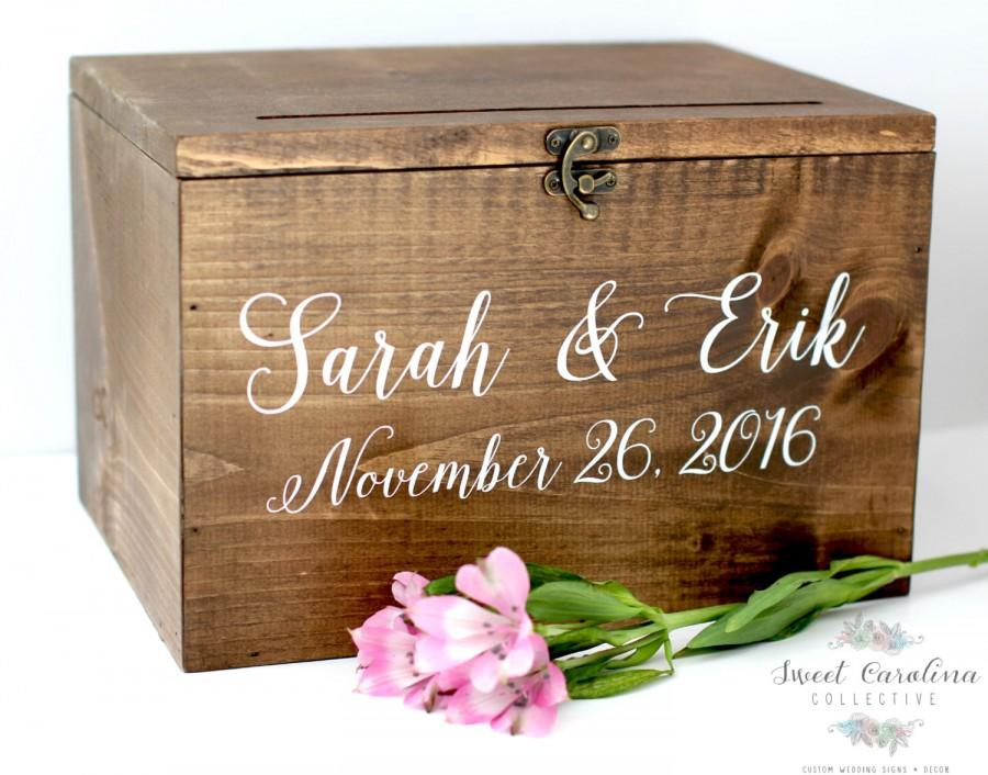 Mariage - Wood Wedding Card Box with Lid - WS-230