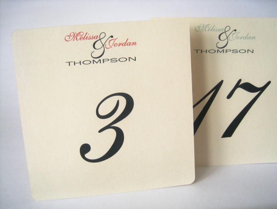Mariage - Wedding table numbers, table number cards, wedding decor, custom table numbers, square table number cards, wedding table sign, table numbers