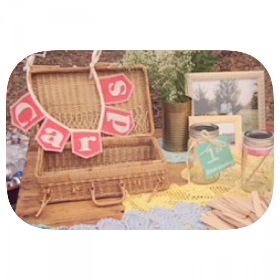 Mariage - CARDS, mini, burlap bunting, shown in coral burlap flags, 15+ colored burlap options, Product ID# 2014-016