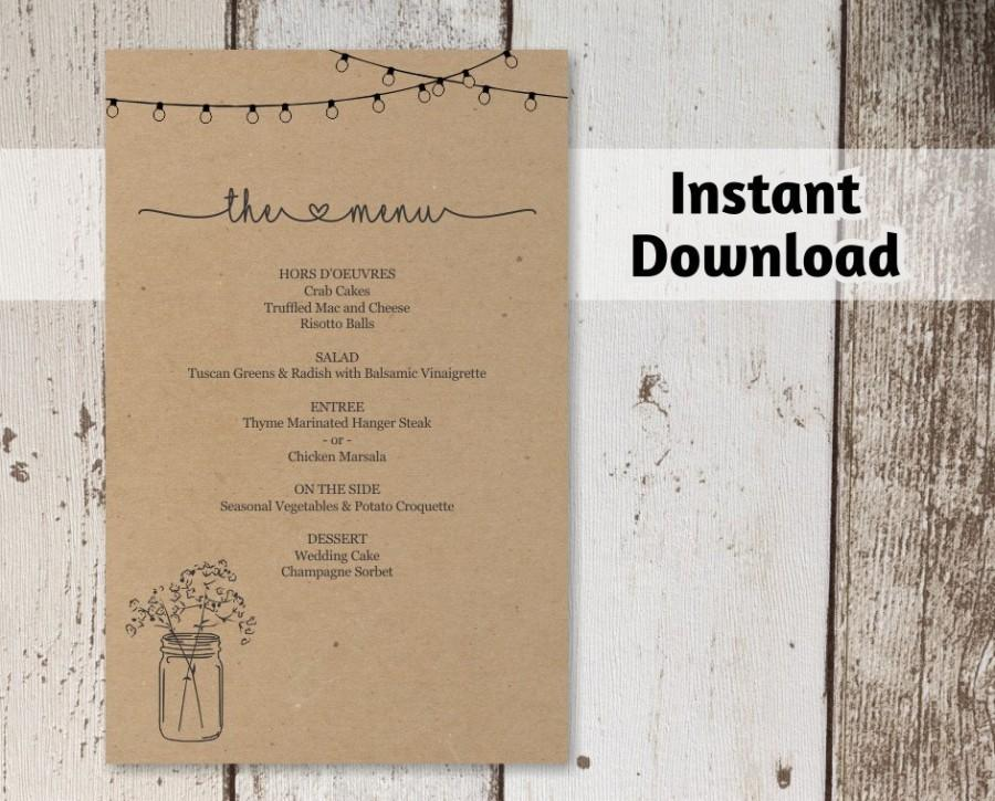 Wedding - Printable Wedding Menu Template - Mason Jar