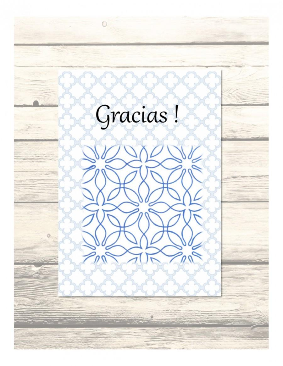 Wedding - Blue Al-Andalus Wedding Thank You Cards in Spanish Customizable - Printable Digital Download