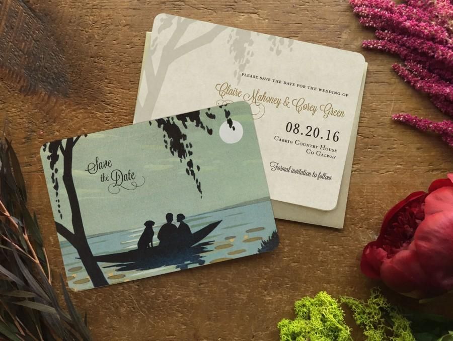 Wedding - Save the Date Postcard, Beach Wedding Invitation, Lake Wedding Save the Date, Include Your Cat or Dog in Boat, Rustic Wedding Invitation