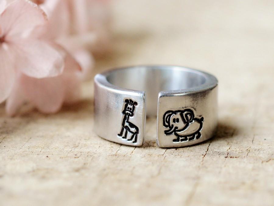 زفاف - African Love,Silver Elephant and Giraffe Ring,Animal Jewelry,Best Gift