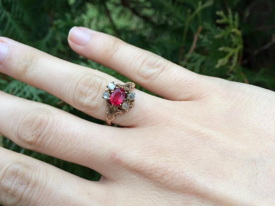 moonstone engagement ring antique victorian 10k rose gold ruby unique size 6 sizeable alternative wedding vintage gemstone fine jewelry - Moonstone Wedding Rings