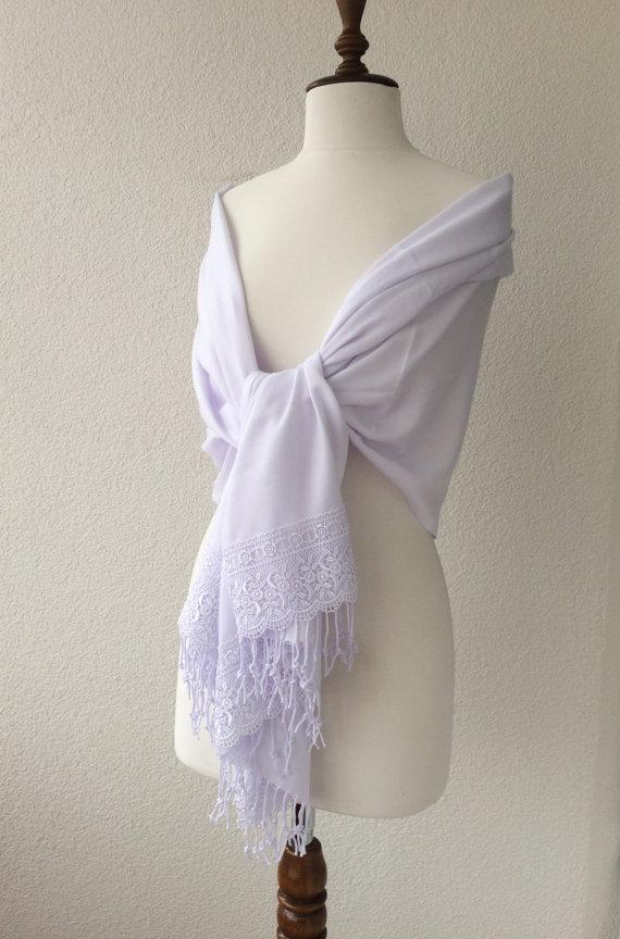 زفاف - White Wedding Shawl, Brides Shrug, bridal scarf, Bridesmaid Gift, best seller