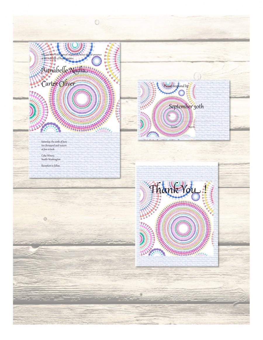 Wedding - Set of Mandala Wedding Invitation, RSVP & Thank You Cards Customizable - Printable Digital Download