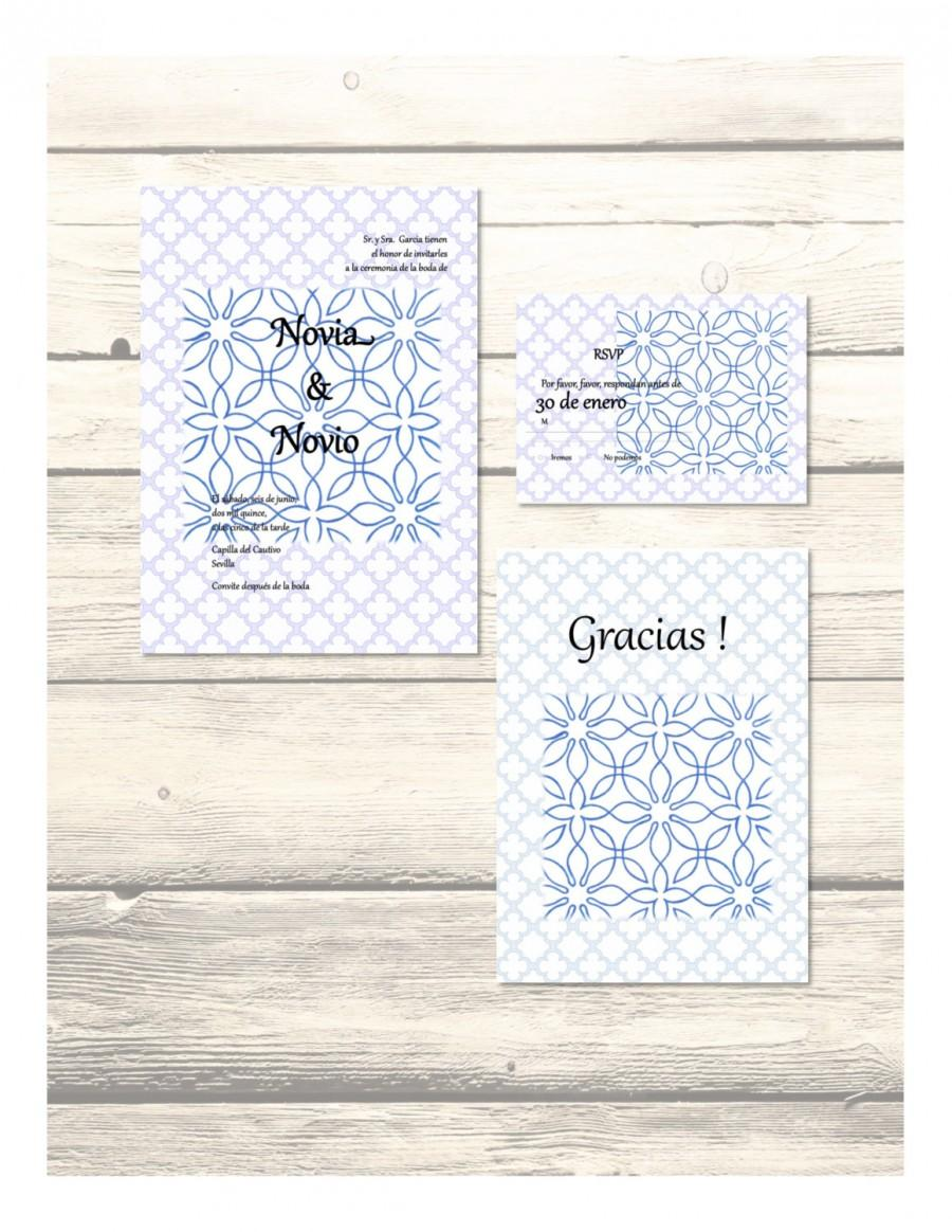 Set Of Blue Al-Andalus Wedding Invitation, RSVP & Thank You Cards In ...