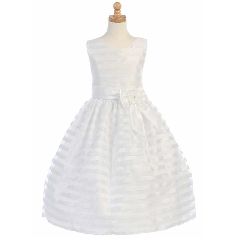 Свадьба - White Striped Organza w/ Taffeta Waistband & Bow Accent Style: LSP121 - Charming Wedding Party Dresses