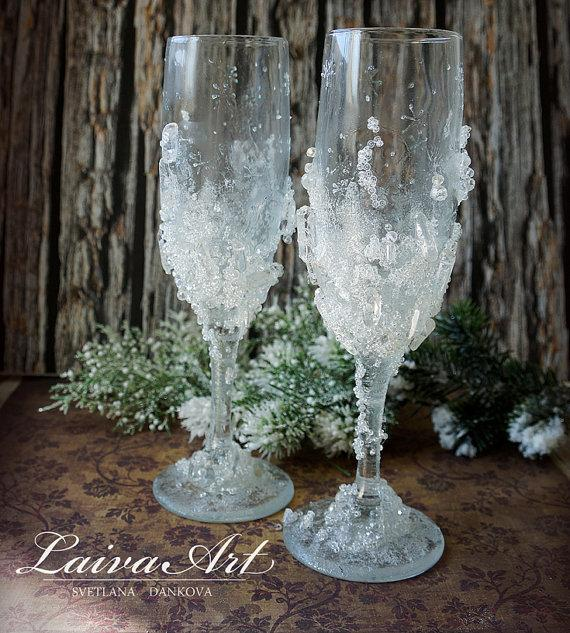 Wedding - Crystals Wedding Champagne Flutes Winter Wedding Champagne Glasses Toasting Glasses