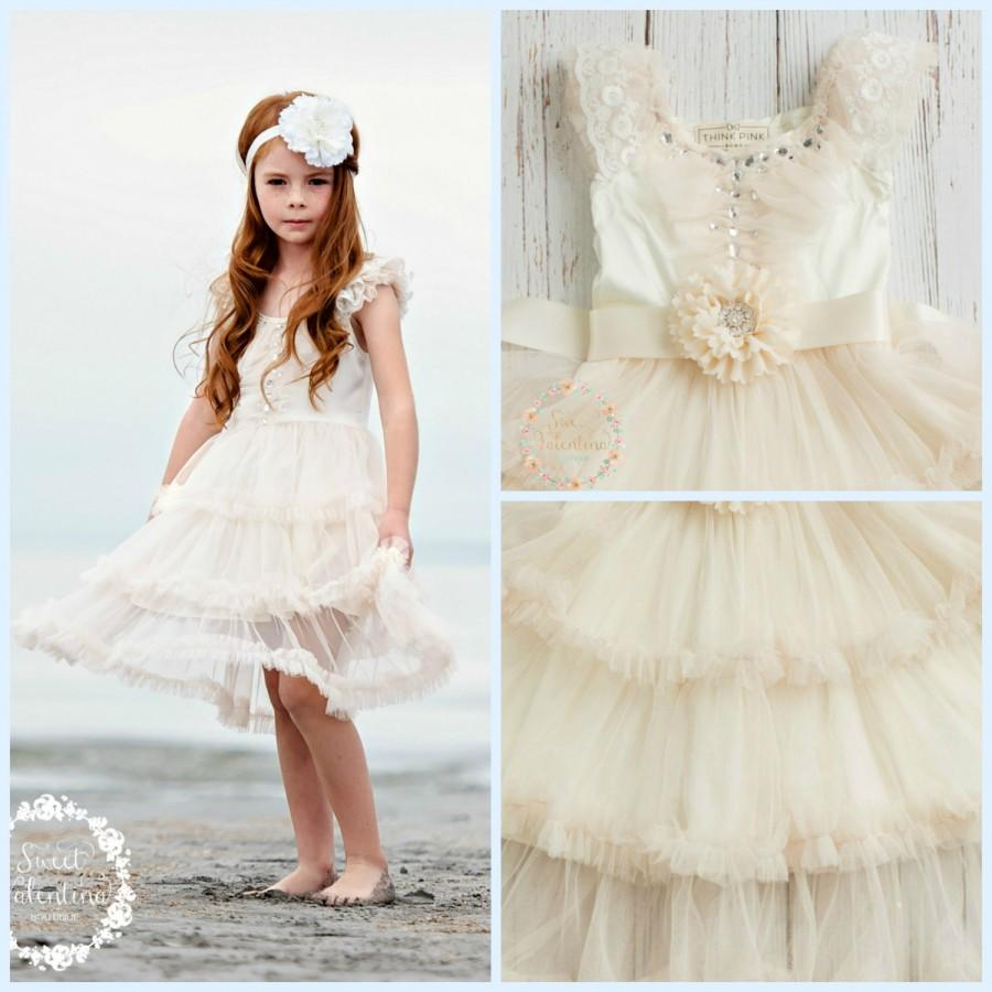 Düğün - Flower Girl dress, Ivory flower girl dress, Rustic flower girl dress, Boho flower girl dress, shabby chic flower girl, Country flower girl