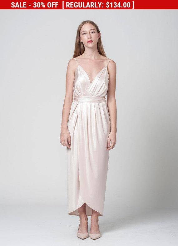 زفاف - blush bridesmaid dress - wrap maxi blush dress - spaghetti maxi blush dress