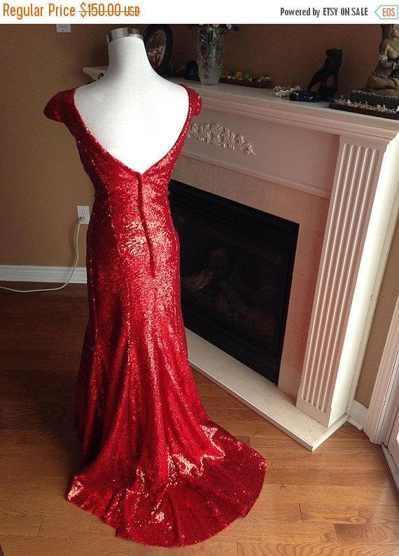 زفاف - On SALE Red sequin dress, Red bridesmaid dress, red christmas gown women - Clearance