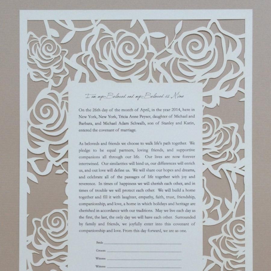 Wedding - Rose Garden Laser Cut Ketubah - Custom Printed with Your Wording.