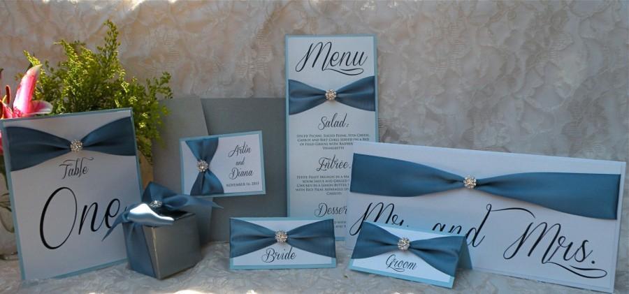 زفاف - Brooch Wedding Invitations - Couture Bling Pocket Invites - Custom Handmade Invitation Suite by Wrapped Up In Details