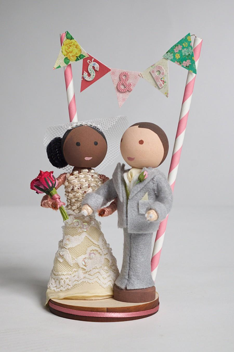 Handmade, Customized, Bride And Groom, Wooden Peg Doll, Wedding Cake ...