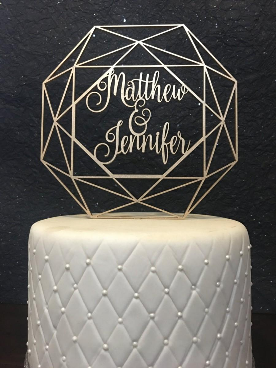 Mariage - Custom Name Cake Topper, Wedding Cake Topper, Geometric Cake Topper, Geometric Wedding, Custom Geometric Wedding Cake Topper, Custom Names