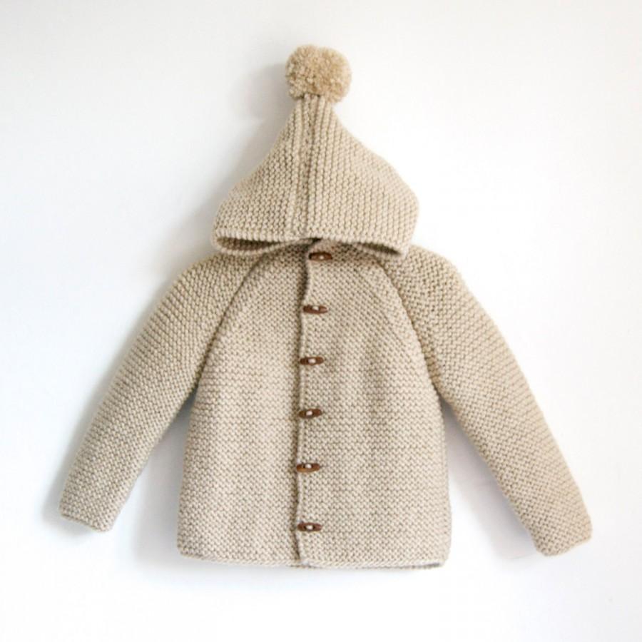 Свадьба - Hand Knitted baby wool hoodie cardigan/Jacket, Chunky, Duffel Coat, Raglan with pom pom, picture color sand beige