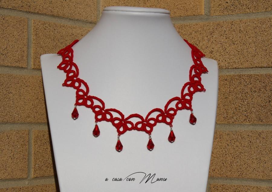 Hochzeit - Collana rossa pizzo chiacchierino, red lace necklace tatting, frivolite bijoux, tatting necklace, per lei, regalo di Natale, made in Italy