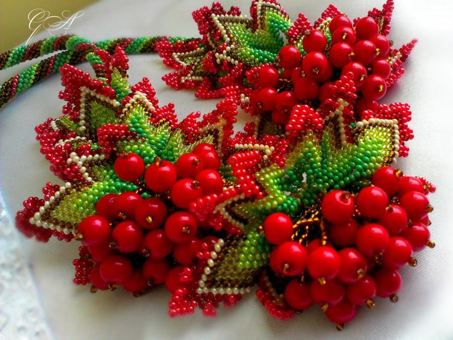 Wedding - Jewelry Sets.bead necklace.beaded bracelet.beaded earrings.summer decoration.red necklace.Ukrainian beading.Red viburnum decoration.
