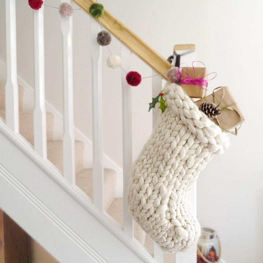 Hochzeit - Chunky Knit White Christmas Stocking - Traditional white hand knitted christmas stocking - Scandinavian Christmas decoration