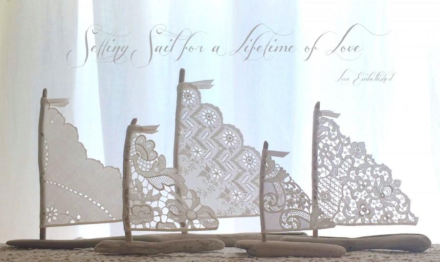 Mariage - Set of 5 Antique Lace Driftwood Beach Decor Sailboats Bohemian Inspired Romance Seaside Lakeside Cottage Photo Props Wedding Decorations