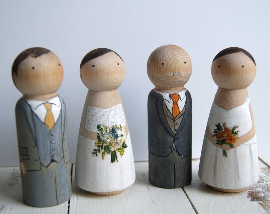 Hochzeit - Wedding cake toppers wooden dolls // Custom wooden peg dolls // Personalised couple rustic cake topper