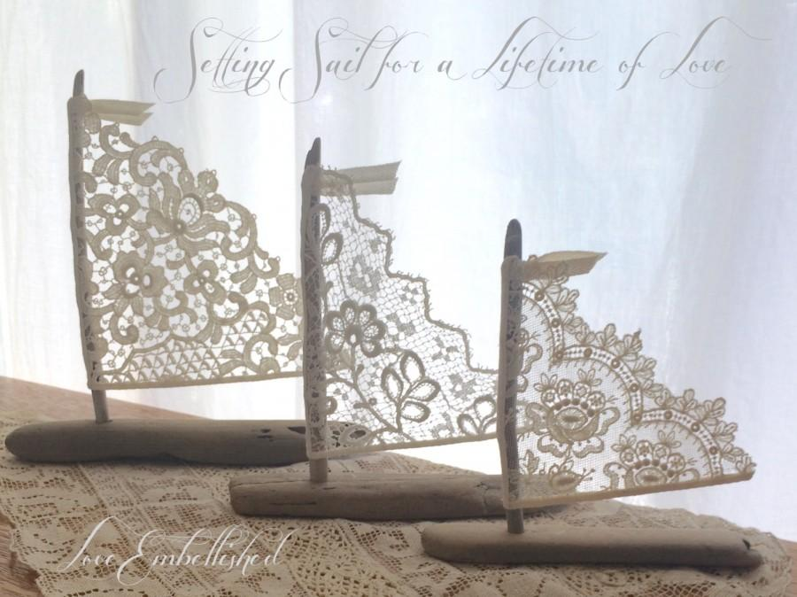 Mariage - Set of Three Driftwood Beach Decor Sailboats Antique Lace Sails Bohemian Inspired Romance Seaside Lakeside Cottage Wedding Made to Order