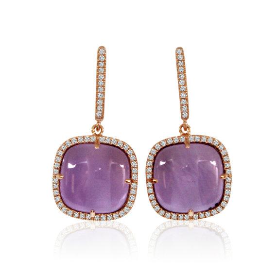 زفاف - Cyber Monday 2016 Deals, 12mm Cabochon Cushion Amethyst & Diamond Earrings 14k Rose Gold Anniversary Gifts Cyber Monday Deals Jewelry Xmas Gifts