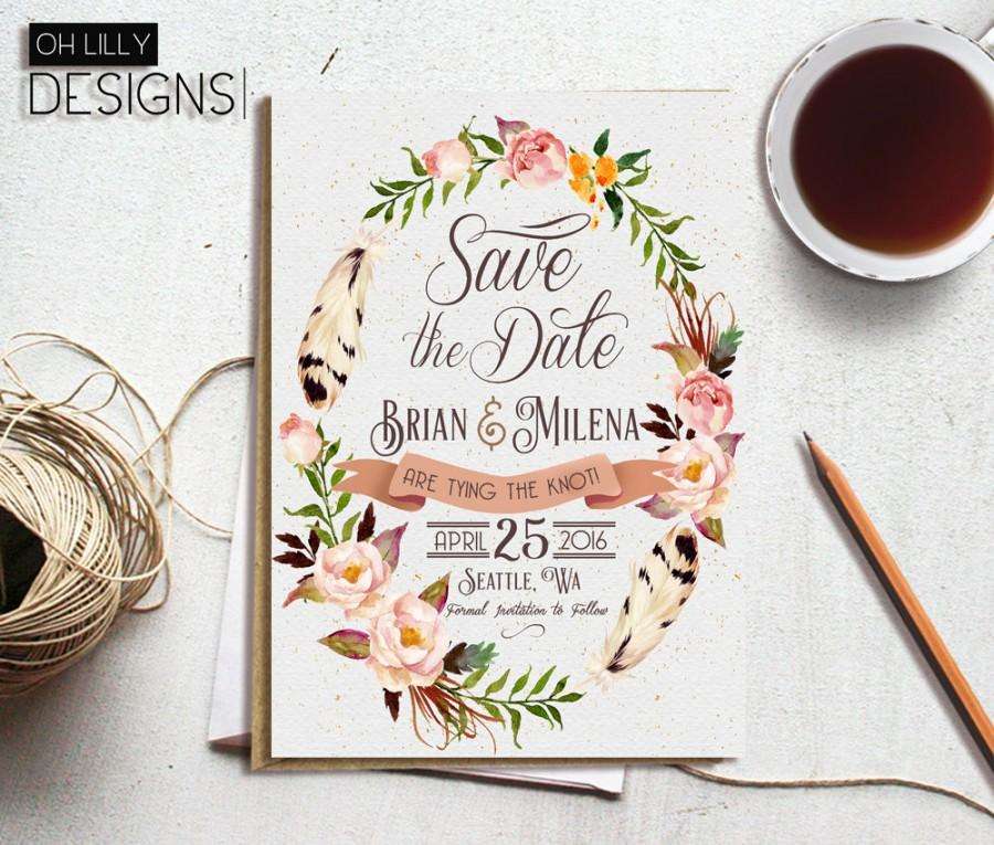 زفاف - Floral Save the Date, Save the Date Botanical, Printable Save the Date, Wedding Announcement, Greenery Save the Date
