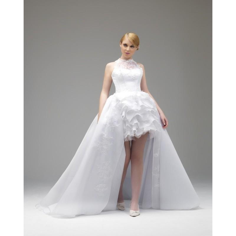 Nectarean Ball Gown Halter Lace Ruching Shortmini Organza Wedding