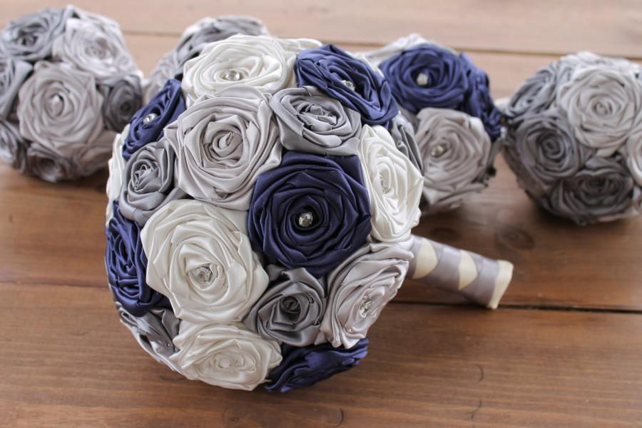 Navy Blue Wedding Bouquet Gray Silver Ivory Fabric And