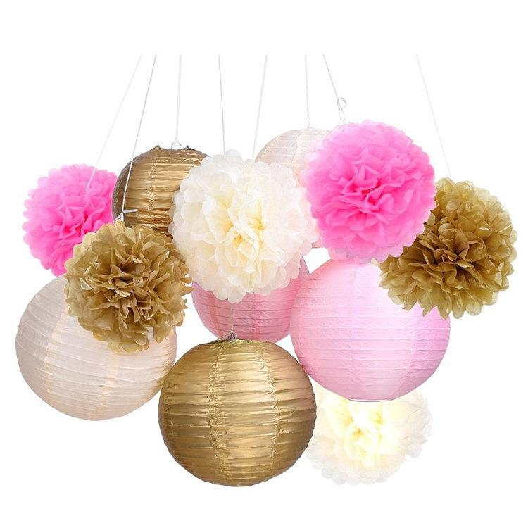 Mariage - Set of 12 Mixed Gold Pink Ivory Tissue Paper  Pom Poms Flower Paper Lanterns Wedding Birthday Girl Baby Shower Party Decoration
