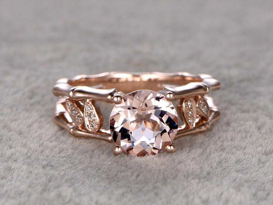 Mariage - 8x8mm Morganite Engagement ring Rose gold,Diamond wedding band,14k,Round Gemstone Promise Bridal Ring,Unique Bamboo shank,Handmade leaf ring
