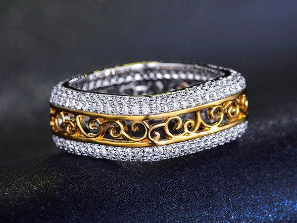 زفاف - Eternity Band Ring - Cubic Zirconia Ring - Wide Band - Two Tone - Square Band Ring - Wedding Band - Filigree Band - Engagement Band - AR0197